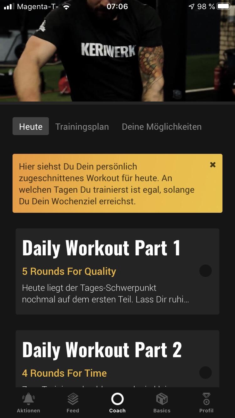 Die Fitness App Kernwerk im Test 3
